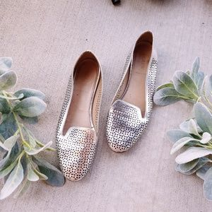 J. Crew Cleo Metallic Silver Cut Out Flats